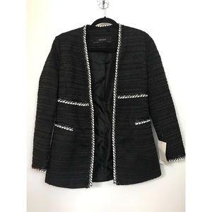 Zara contrasting textured weave blazer